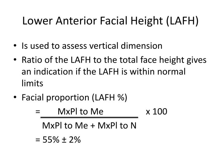 Lower anterior facial height lafh