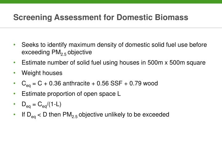 Screening Assessment for Domestic Biomass