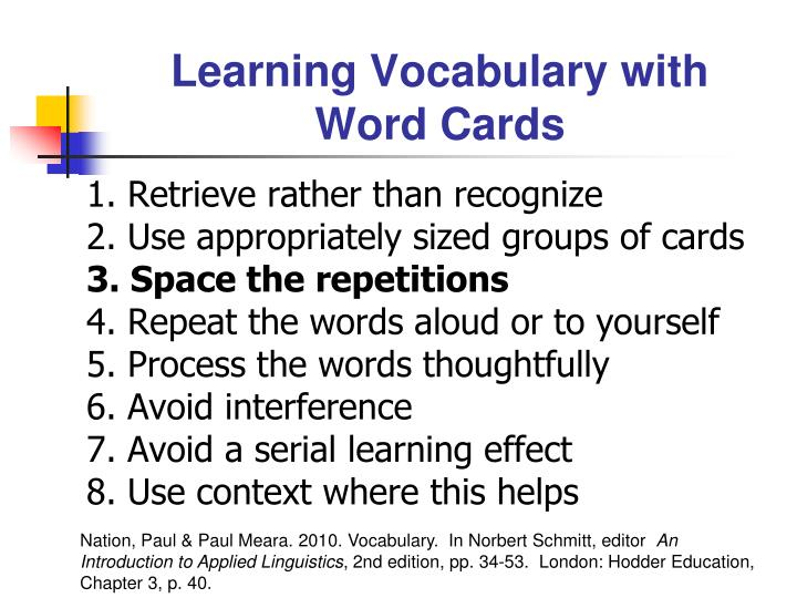 Learning Vocabulary with Word Cards