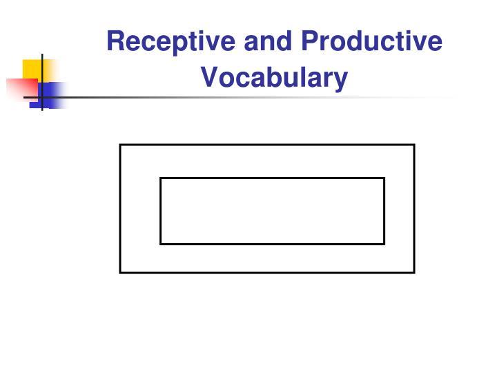Receptive and productive vocabulary