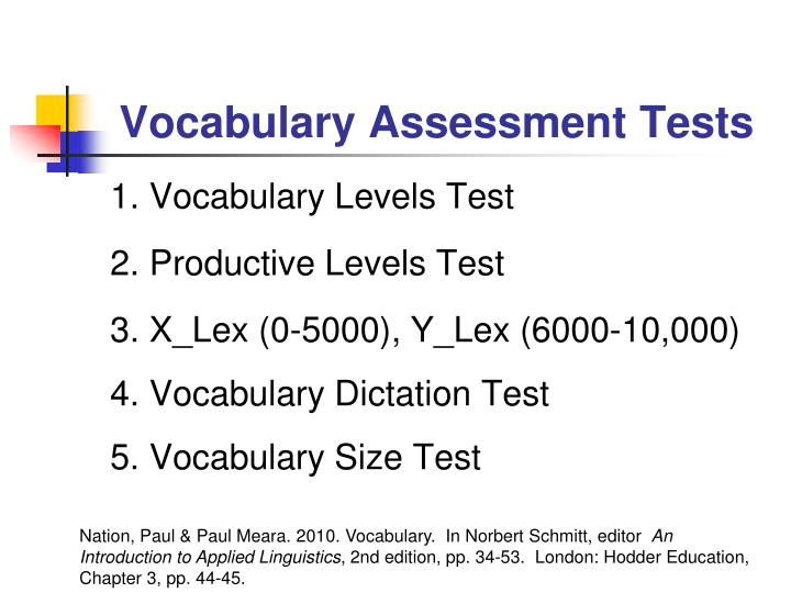 Vocabulary Assessment Tests