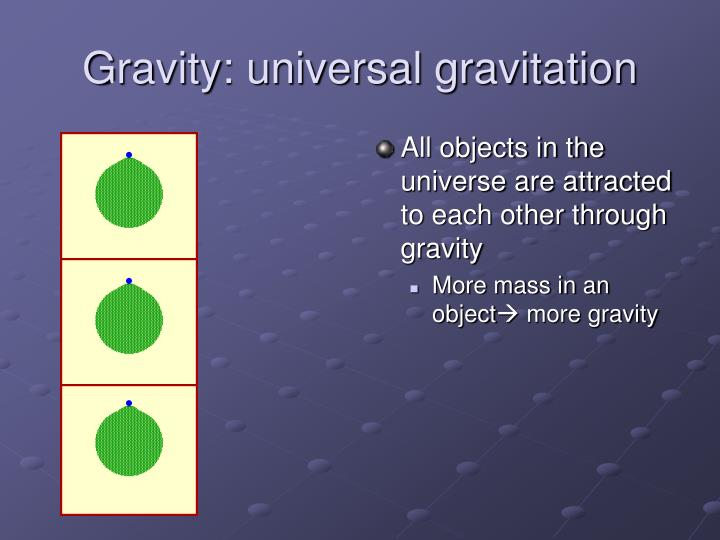 Gravity: universal gravitation