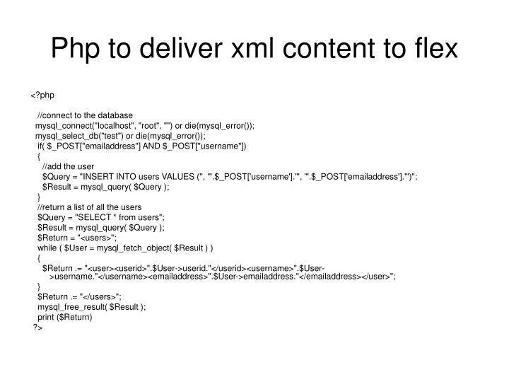 Php to deliver xml content to flex