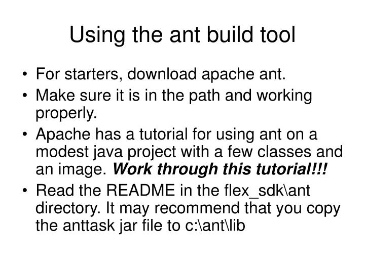 Using the ant build tool