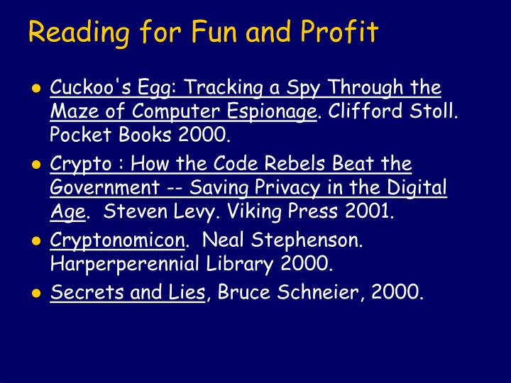 Reading for Fun and Profit
