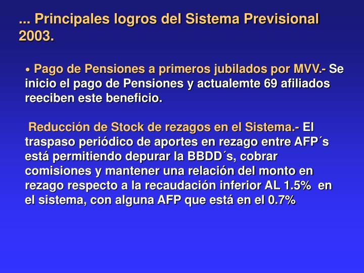 ... Principales logros del Sistema Previsional 2003.