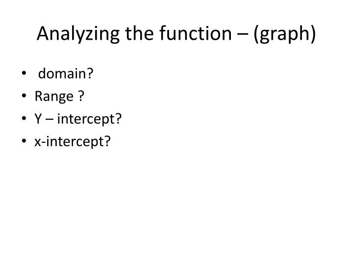 Analyzing the function – (graph)