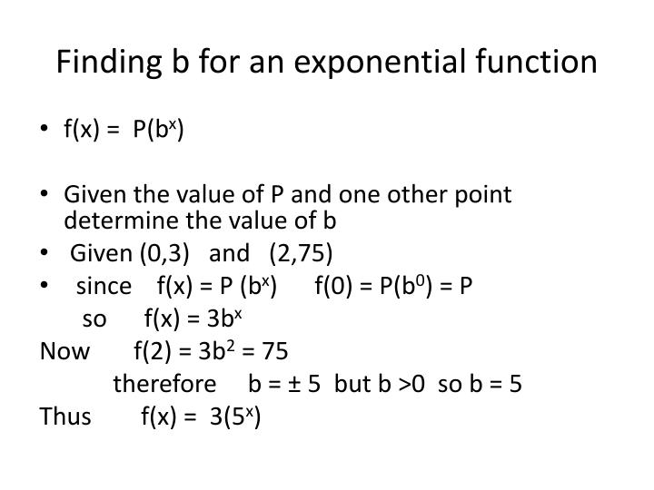 Finding b for an exponential function