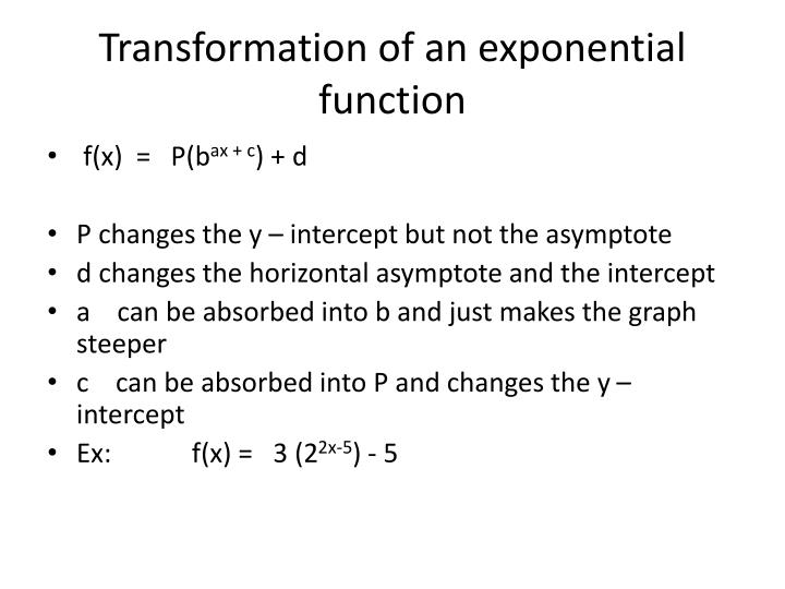Transformation of an exponential function