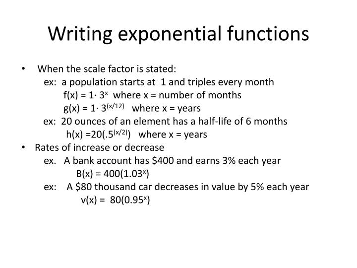 Writing exponential functions
