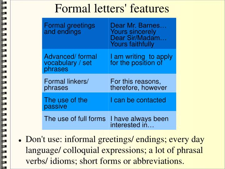 formal letters features