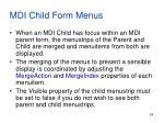 mdi child form menus
