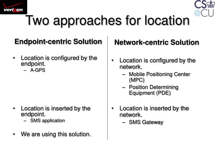 Two approaches for location