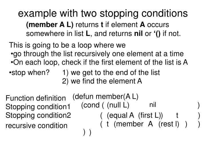 example with two stopping conditions