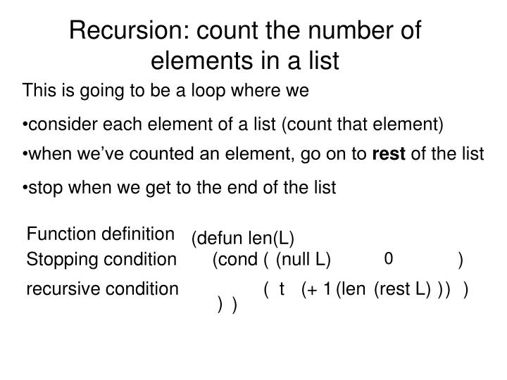 Recursion: count the number of elements in a list