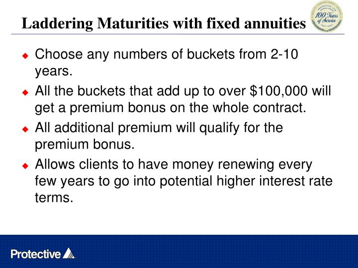 Laddering Maturities with fixed annuities