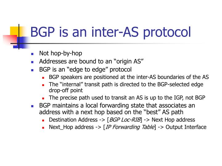 BGP is an inter-AS protocol