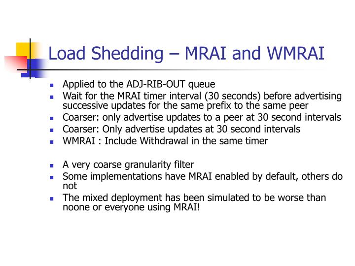 Load Shedding – MRAI and WMRAI