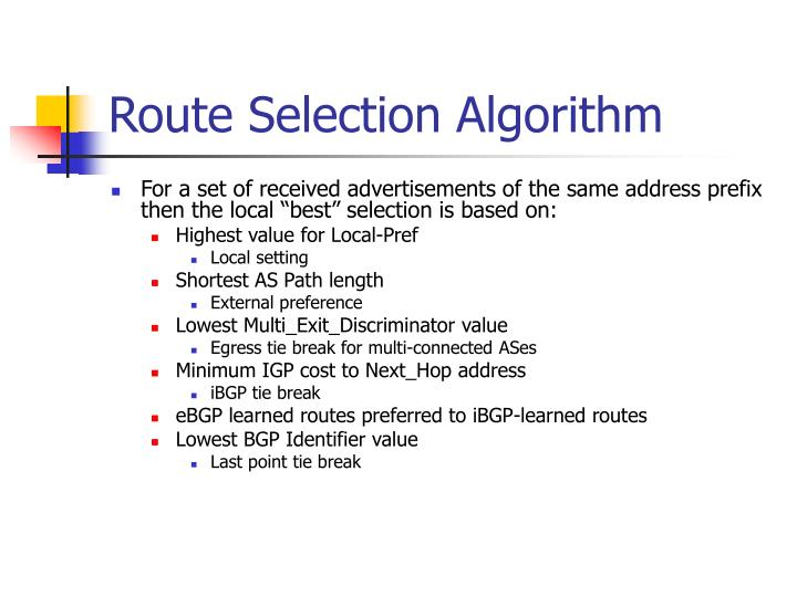 Route Selection Algorithm