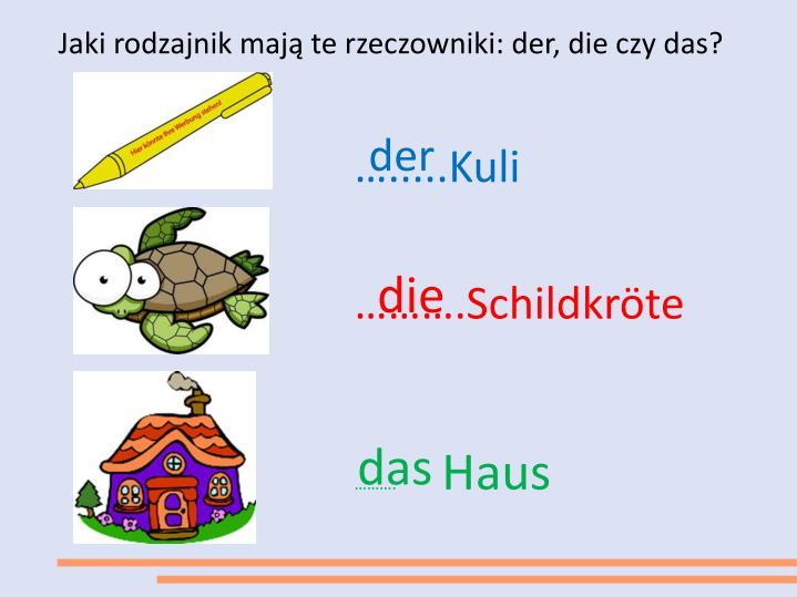 Jaki rodzajnik mają te rzeczowniki: der, die czy das?