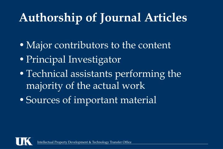 Authorship of Journal Articles