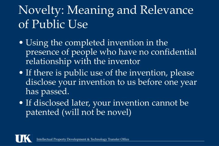 Novelty: Meaning and Relevance of Public Use