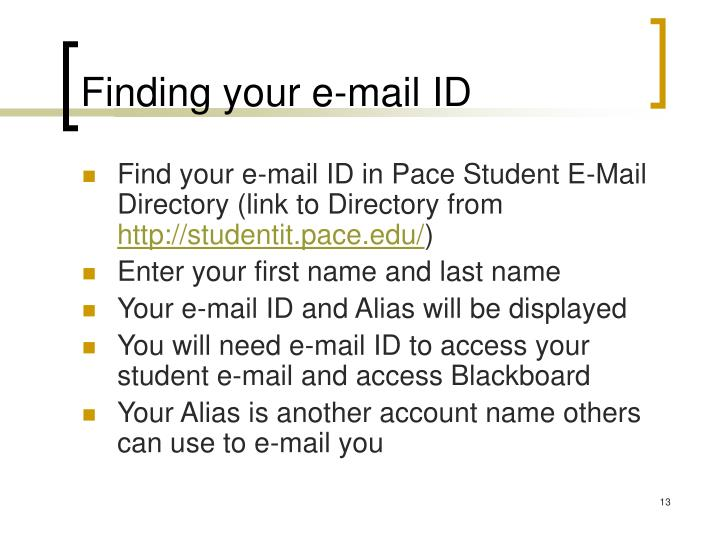 Finding your e-mail ID