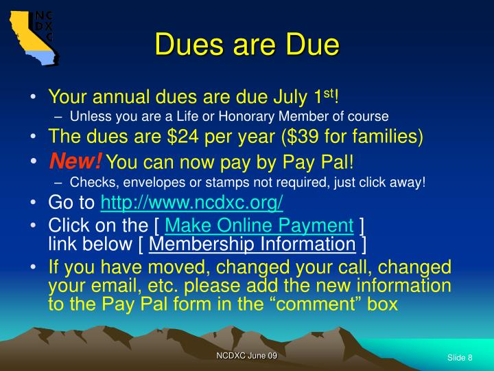 Dues are Due