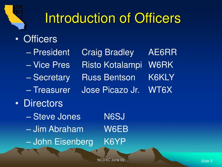 Introduction of officers