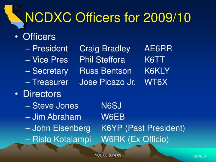 NCDXC Officers for 2009/10