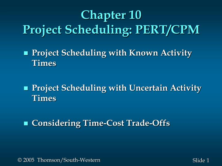 chapter 10 project scheduling pert cpm n.