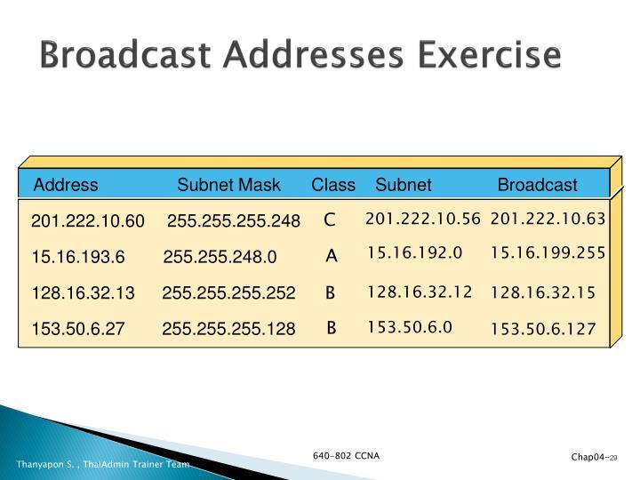Broadcast Addresses Exercise