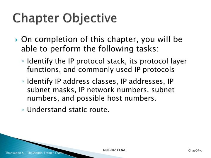 Chapter objective