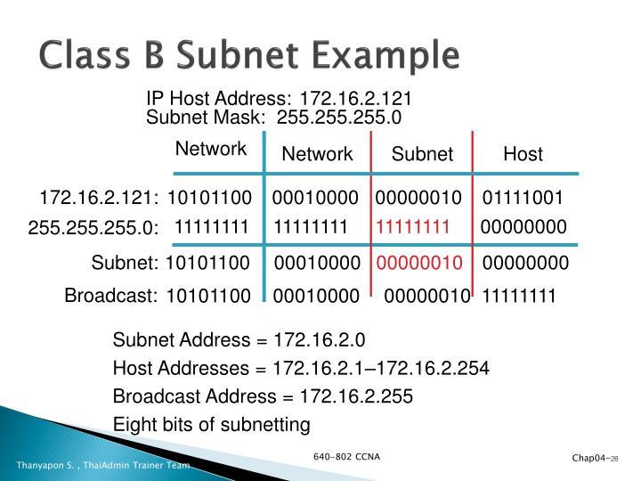 Class B Subnet Example
