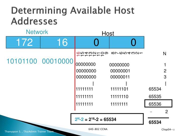 Determining Available Host Addresses