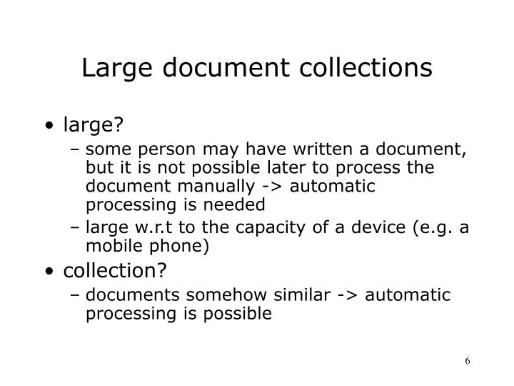 Large document collections
