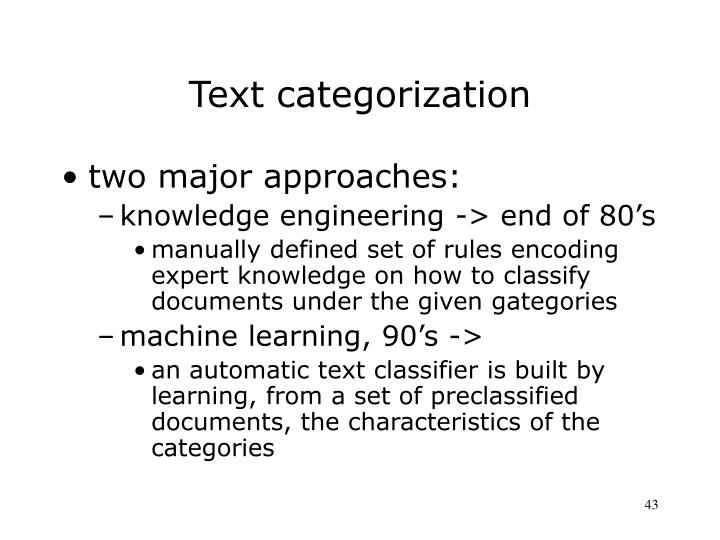 Text categorization