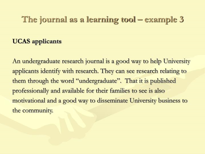 The journal as a learning tool – example 3
