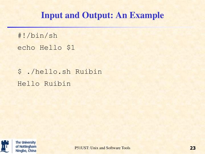 Input and Output: An Example