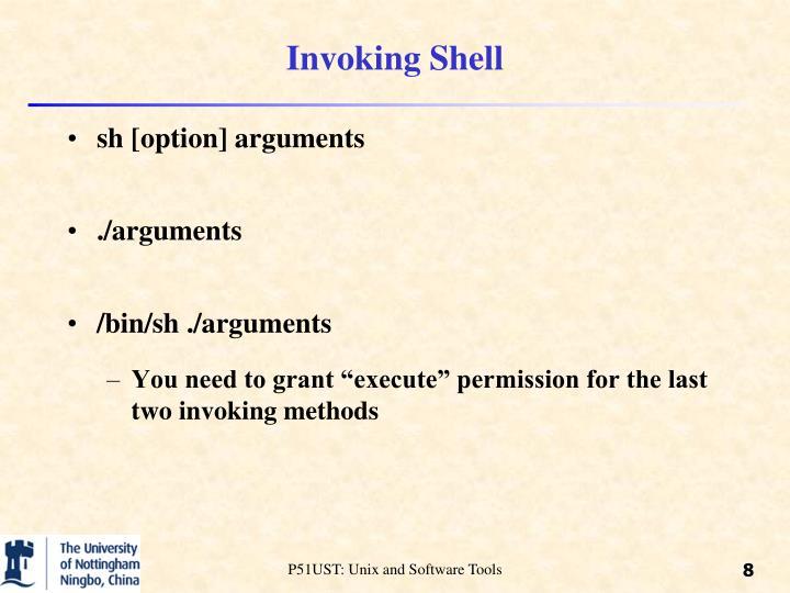 Invoking Shell
