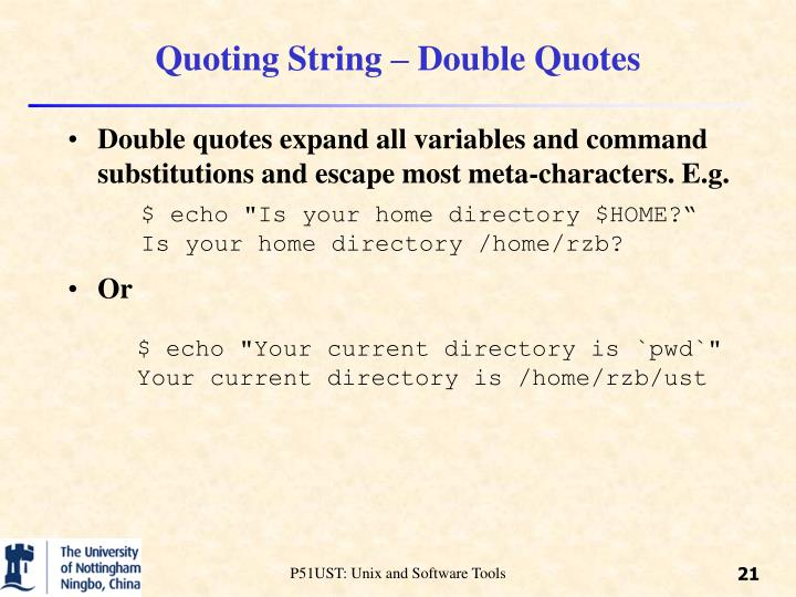 Quoting String – Double Quotes
