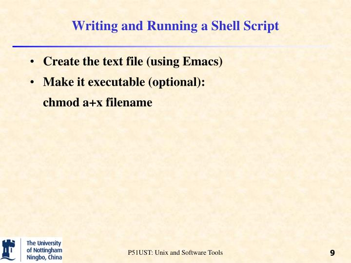Writing and Running a Shell Script