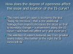 how does the degree of openness affect the slope and location of the is curve