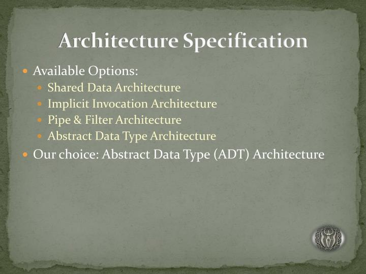 Architecture Specification