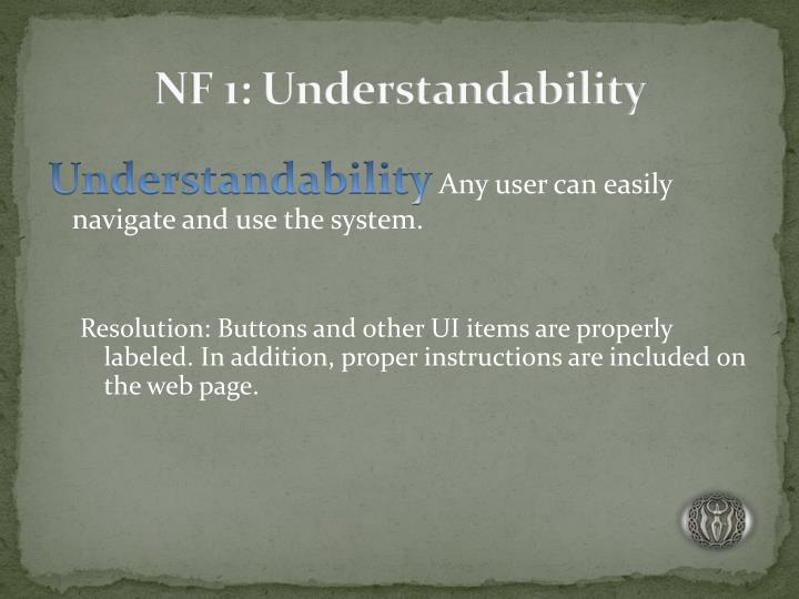 NF 1: Understandability