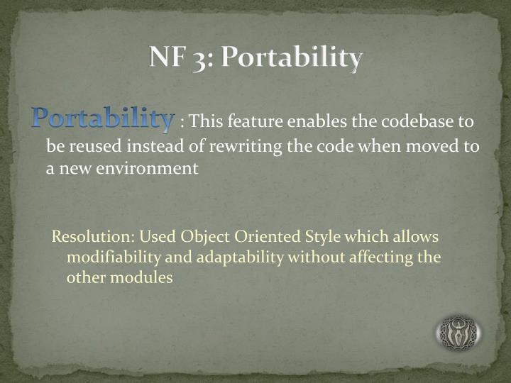 NF 3: Portability