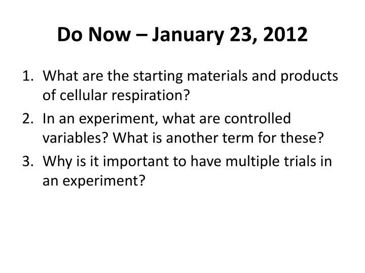 PPT Do Now January 23 2012 PowerPoint Presentation ID