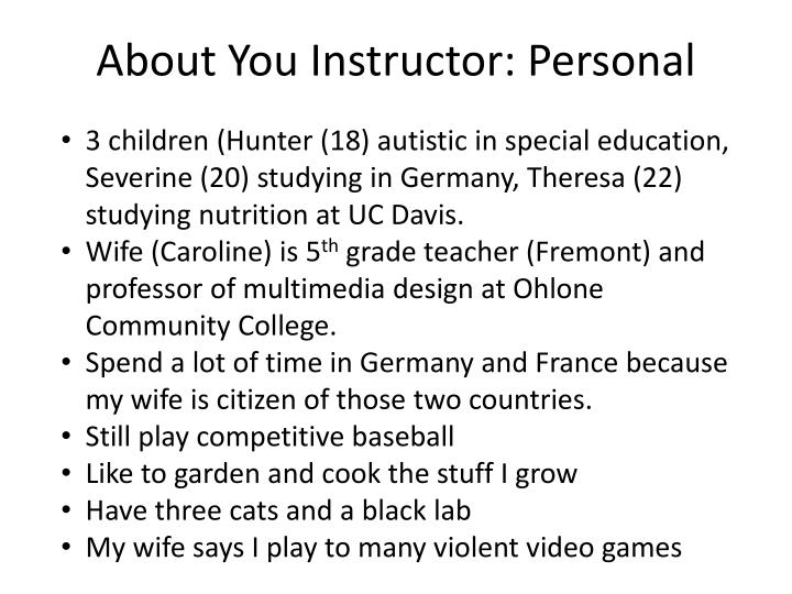 About you instructor personal
