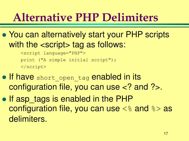 Alternative PHP Delimiters