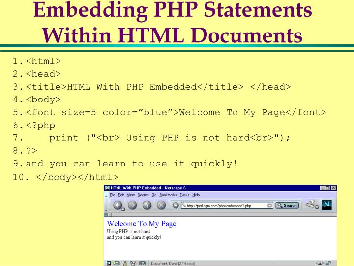 Embedding PHP Statements Within HTML Documents
